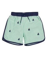 Green & White Seersucker Check with Embroidered Sailboats. 100% Cotton