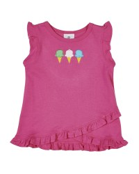 Pink with Crossover Hem with Ruffles. Ice Cream Cone Embroideries