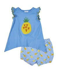 Solid Blue Top with Screen Print Pineapple with Pineapple Print Bloomer (2pc)