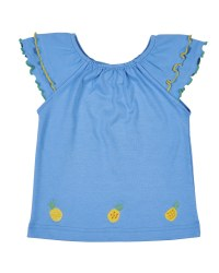 Blue Elastic Neck Top with Lettuce Edged Sleeve Ruffles. Pineapples