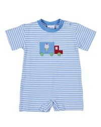 Printed Blue & White Stripe Shortall. Ice Cream Truck Applique