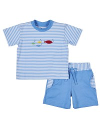 Blue & White Stripe Shirt with Fish & Solid Blue Shorts, Stripe Pockets (2PC)