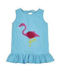 Turquoise Tank, Tie Back, Hem Ruffle & Flamingo Screen Print
