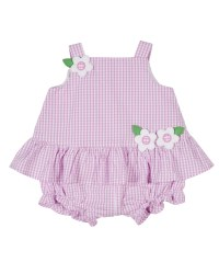 Pink & White Check Seersucker. 100% Cotton. All-In-One Body & Flowers