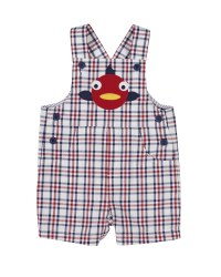 White, Navy and Red Plaid. 100% Cotton. Fish