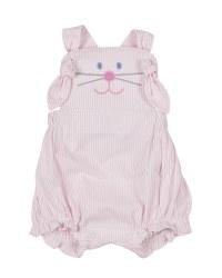 Pink Stripe Seersucker Romper, 100% Cotton, Bunny