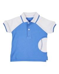 Medium Blue, White Interlock Tee Polo, 100% Cotton, Baseball