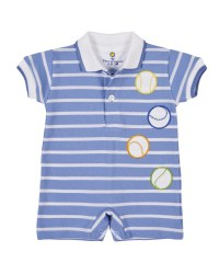 Medium Blue Stripe Knit Pique Shortall, 100% Cotton Applique Baseballs
