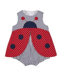 Red Dot & Navy Stripe Romper, 100% Cotton, Ladybug