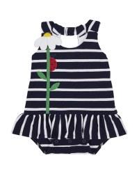 Navy Stripe Knit Pique Romper, 100% Cotton, Flower & Ladybug