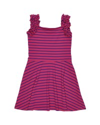 Fuchsia & Royal Stripe Knit. 97% Cotton 3% Spandex
