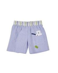 Blue Seersucker. 100% Cotton. Jock Lined & Fishing bear