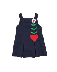 Navy Twill 100% Cotton.  Heart Pocket, Flower  Lined