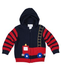 Navy & Red Sweater Knit. 100% Cotton.  Firetruck Intarsia