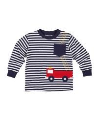 Navy & White Stripe. 97% Cotton 3% Spandex. Firetruck