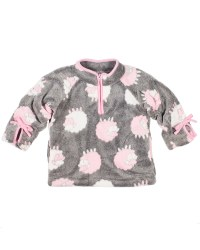 Grey, White & Pink Lamb Jacquard Fleece. 100% Polyester