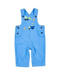 Medium Blue Corduroy Longall, 100% Cotton. Construction Zone Applique