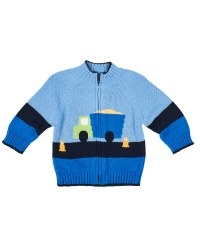 Medium Blue Navy Sweater, 100% Cotton, Intarsia Dump Truck
