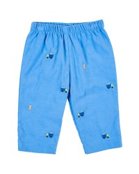 Medium Blue Cord Pant, 100% Cotton, Embroidered Dumptrucks & Cones