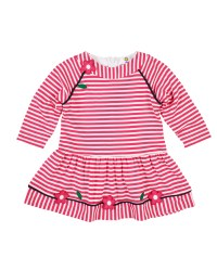 Bright Pink Stripe Interlock Dress, 50% Cotton 50% Polyester,  Flowers