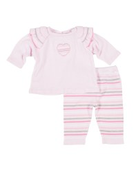Pink Sweater Knit Top & Pant Set (2Pc), 100% Cotton, Heart