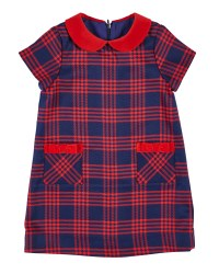 Navy & Red Plaid. 65% Poly 35% Rayon 5% Spandex. Velvet Trim