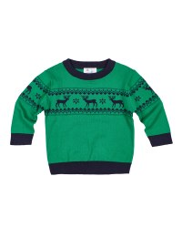 Green/Navy Sweater Knit. 100% Cotton.  Reindeer Intarsia