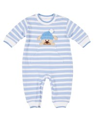 Light Blue Stripe Knit Pique Longall, 100% Cotton, Dog with  Hat