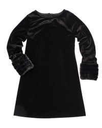 Black Stretch Velvet. 90% Polyester 10% Spandex. Fur. Lined