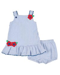 Blue and White Stripe Seersucker, 100% Cotton, Bloomer, Flowers