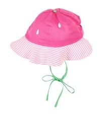 Pink, White Stripe Seersucker Strawberry Hat