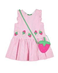 Pink, White Stripe Seersucker, 100% Cotton, Strawberry Purse