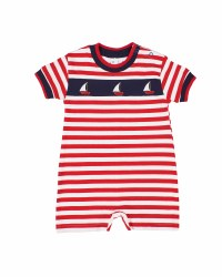 Red, White Stripe, 97% Cotton 3% Spandex, Sailboat Applique
