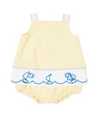 Yellowith Light Blue Seersucker Romper, Cotton & Polyester Embroidered Sailboats