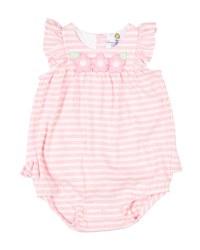 Pink Stripe Interlock Romper, 50% Cotton, 50% Polyester, Flowers