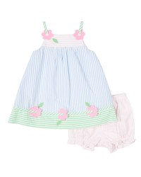 Multi Pastel Seersucker Dress, Bloomer, 100% Cotton, Flowers