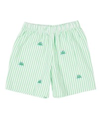 Light Green Seersucker Shorts, 100% Cotton, Embroidered Tugboats