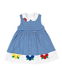 Royal Stripe Interlock Dress, 50% Cot, 50% Poly, Flowers