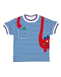 Royal Stripe Interlock Tshirt, 50% Cotton, 50% Polyester, Dinosaur