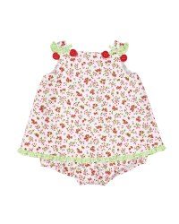 Cherry Print Finewale Pique Romper, 50% Cotton, 50% Polyester, Cherries