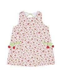 Cherry Print Finewale Pique Dress, 50% Cotton, 50% Polyester, Cherries