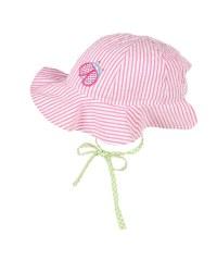 Pink Stripe Seersucker Hat, 100% Cotton, Ladybug