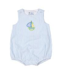 Light Blue Stripe Seersucker Romper, 100% Cotton, Sailboat