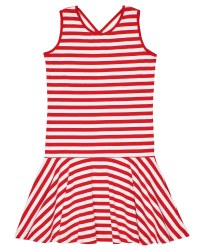 Red, White Stripe Knit, 97% Cotton 3% Spandex