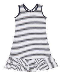 Navy, White Stripe Knit, 97% Cotton 3% Spandex