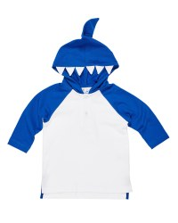 White, Blue Interlock, 100% Cotton, Shark Teeth