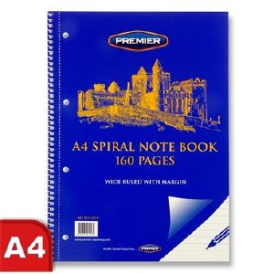 A4 160pg Spiral Note Book