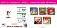 Mrs. Brown Christmas Cards PK4