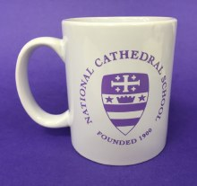 MUG-WHITE W/NCS SEAL IN PURPLE