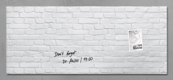 'Artverum' Magnetic Glass Noticeboard 130 x 55cm WHITE BRICK DESIGN